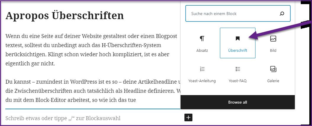 Das Überschriftensystem in WordPress zur Suchmaschinenoptimierung